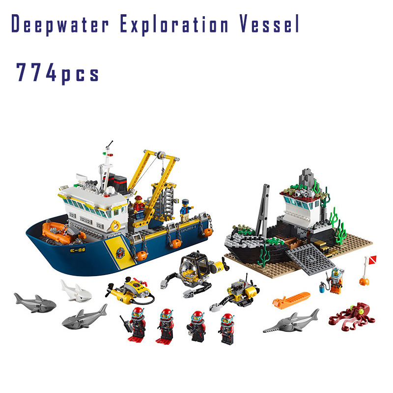 Models building toy Deep Sea Explorers Exploration Vessel Submarine Shipwreck Building Blocks Compatible with lego city 60095 774pcs city deep sea explorers 02012 model exploration vessel building blocks bricks children toys ship kit compatible with lego