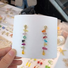 MENGJIQIAO New Korean Elegant Natural Colorful Crystal Stone Tassel Drop Earrings For Women Girls Pendientes Oorbellen Jewelry(China)