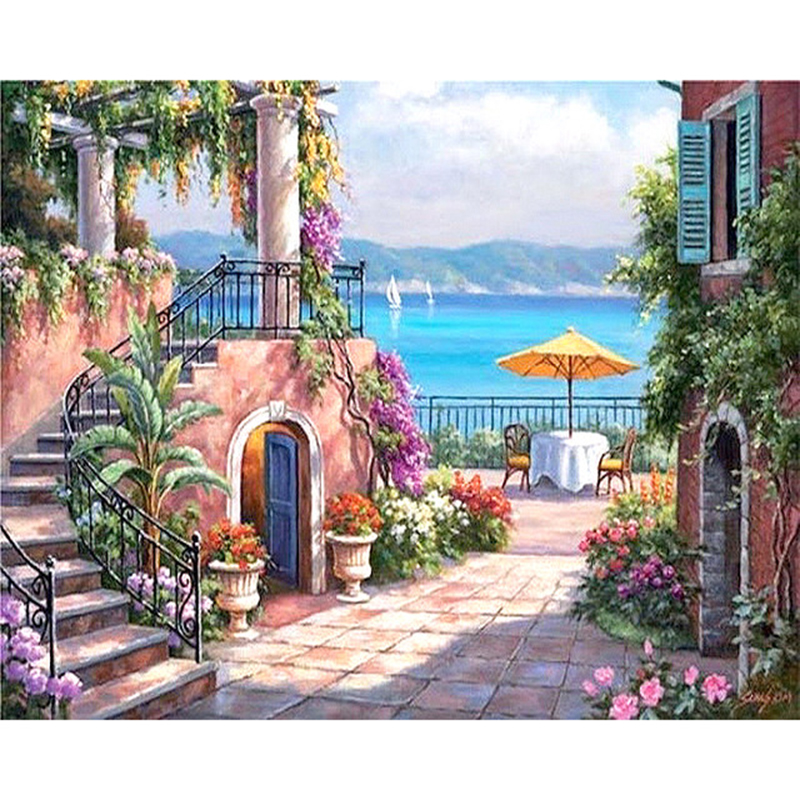 ArtSailing Picture-by-numbers On Canvas Diy Sea Garden House Scenery Paintings By Numbers Posters 2018 New Drop Shipping NP-273