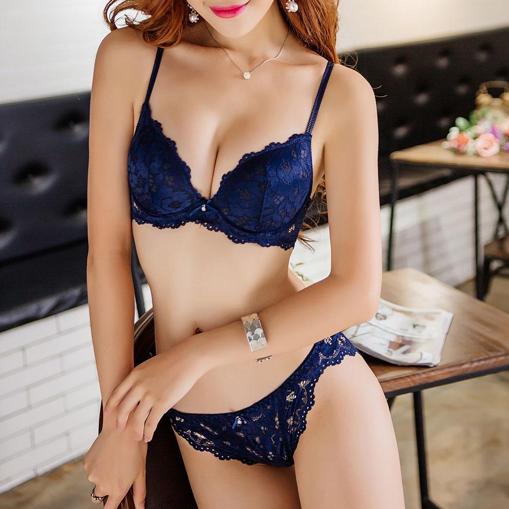 Womens Push up bras Sexy lace bra sets padded bralette lingerie sets underwire U-Back bra and panty set BH 1