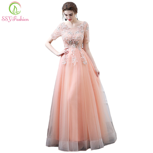 SSYFashion New Sweet Peach Color Lace Evening Dress The Bride Banquet Lace  Flower Short Sleeved Long Party Gown Robe De Soiree f3b981591ed3