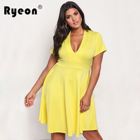 Ryeon Sexy Dress Plus Size Women Summer Autumn Spring Dress V Neck Short Sleeve Tunic A