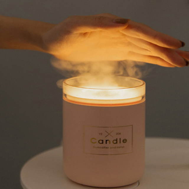 Hot Selling Creative Candle Humidifier 280ml Pure Type Warm Light Desktop Air Humidifier Purifier Home Office Car Mist Maker