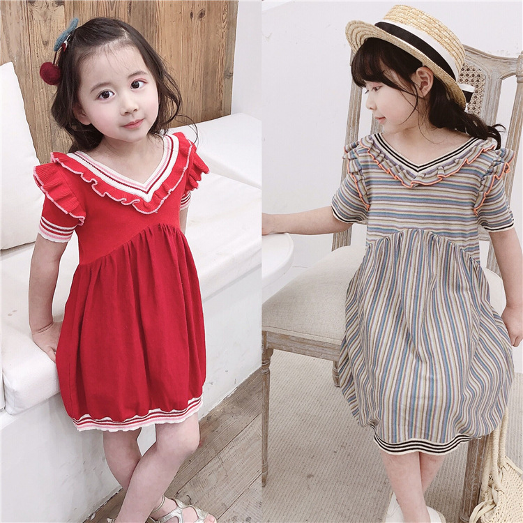 summer girl dress 2019 new design baby girls clothes Two color v-neck knit dress casual short sleeve kids cute dressessummer girl dress 2019 new design baby girls clothes Two color v-neck knit dress casual short sleeve kids cute dresses