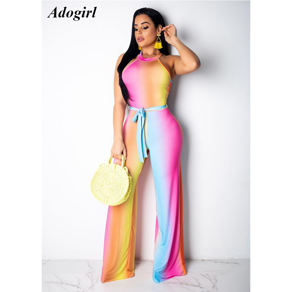 Adogirl Sexy Colorful Gradient Off Shoulder Jumpsuit Women Casual O Neck Lace Up Bandage Rompers Elegant Wide Leg Pants Overalls