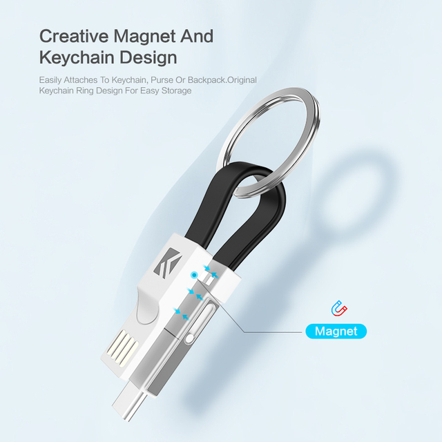 Keychain Charger Charging Cables 3 in 1, Micro USB Type C Cable, I Phone and Samsung