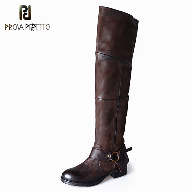Prova Perfetto Handsome Style Suede Leather Woman Boots Round Toe Casual Over The Knee Boots Pleated Design Rivets Female Boot