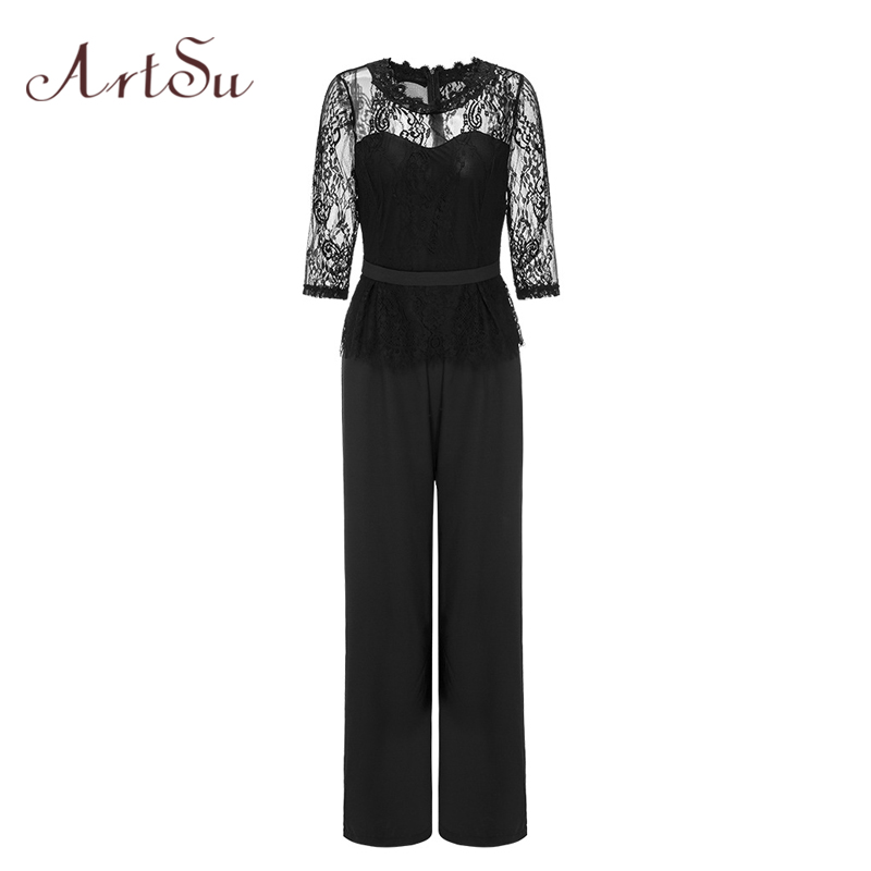 ArtSu Half Sleeve Lace Patchwork Jumpsuit 2018 Women Long Wide Leg Body Elegant Work Office Ropmer Sexy Slim Overalls ASJU30300