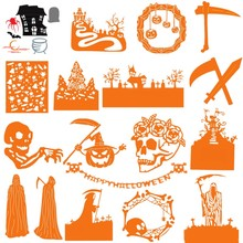 Newest Halloween Skull Pumpkin Ghost Sickle Tomb Guard Metal Cutting Dies for DIY Scrapbooking Craft Paper Cards Making 2019 New