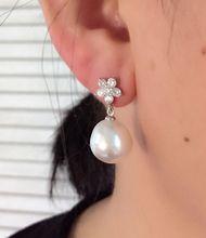 Women Gift word 925 Sterling silver real Natural seawater Pearl Earrings 925 Silver Earrings baroque pearl Nanyang Kim big Baroq