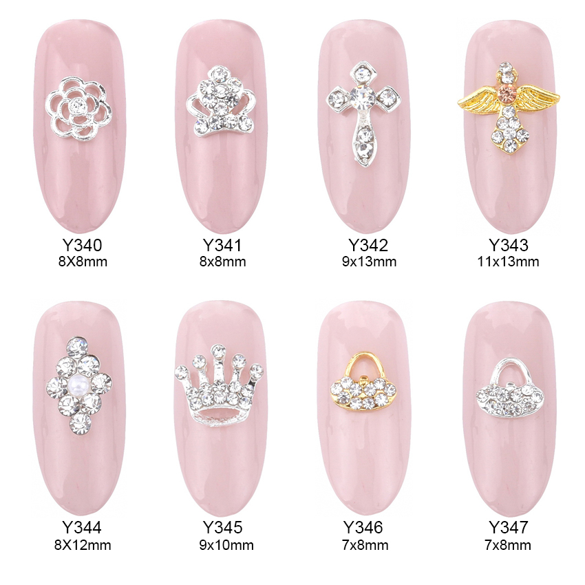 10pcs Crystal rhinestones nails accessories 3d jewelry nail nailart decoration crown flowers charms mochila Y340~347 100pcs 6 color choices resin flowers nail art decoration diy charm 3d unha nails accessories bl59
