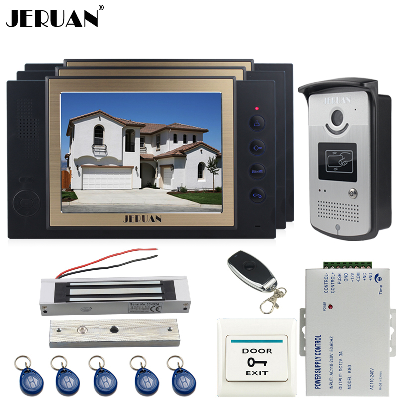 JERUAN luxury 8`` LCD Video Door Phone three 700TVT Camera access Control System+Magnetic lock+Remote control+8GB card jeruan black 8 lcd video door phone system 700tvt camera access control system cathode lock remote control 8gb card