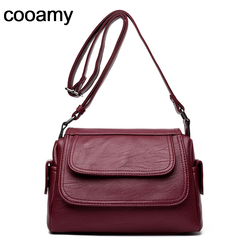 Soft Leather Women Shoulder Bag Black Pu Leather female Handbag Tote Zipper Vintage Crossbody Bag Stitching Messenger Bags sac