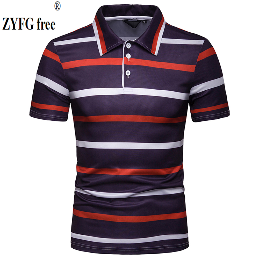 New street style summer top men's   POLO   shirts striped cotton polyester blend short sleeve   polo   blouse casual shirt male   polo