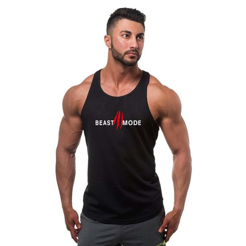 2019 New Fitness   Tank     Top   Men bodybuilding stringer   tank     top   Shirts gyms Workout Vest Clothing beast mode Breathable Vest   top