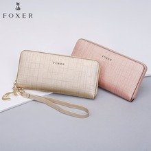 FOXER Women Cow Leather Long Wallet Fashion Wristlet Clutch Purse Cellphone bag with Wrist Strap Wallets for Women wristlet purse with tassel