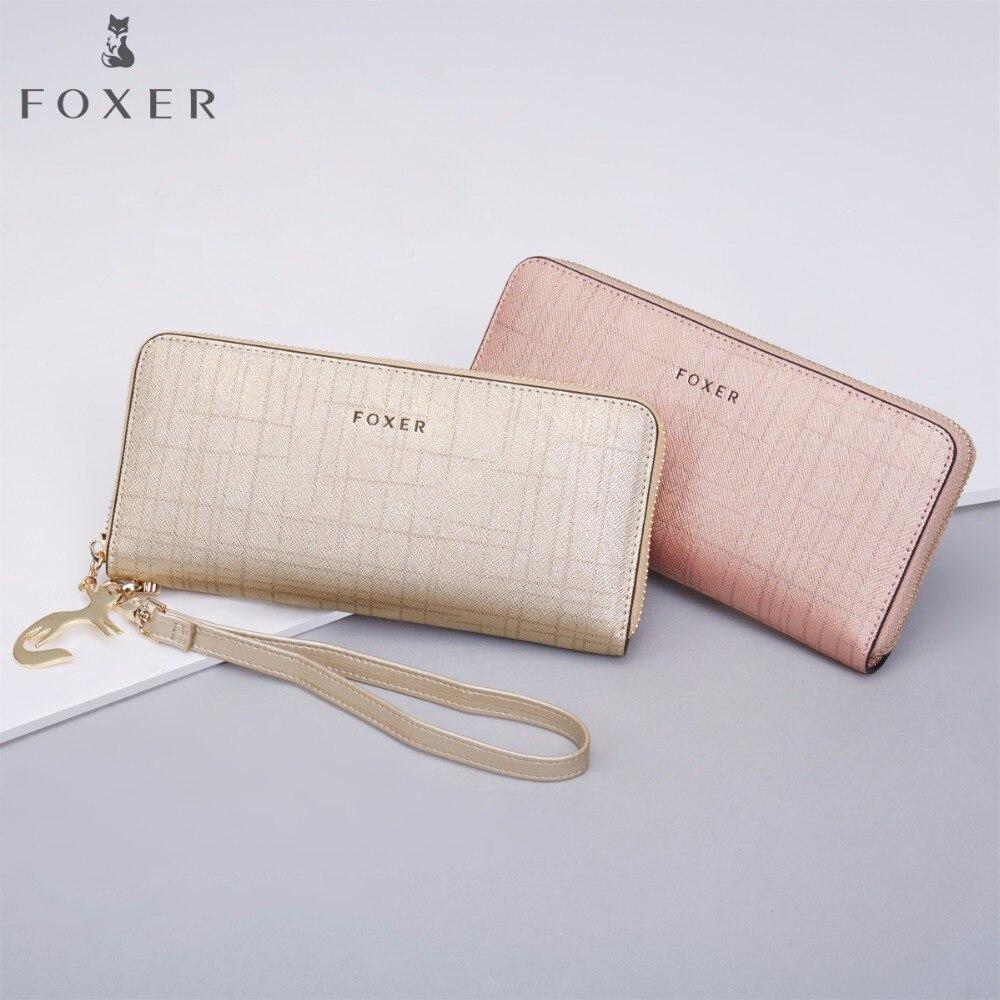 FOXER Women Cow Leather Long Wallet Fashion Wristlet Clutch Purse Cellphone bag with Wrist Strap Wallets for Women