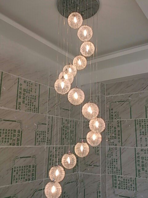 Stairs lights LED lamps Pendant Lights rotary staircase lights creative restaurant glass spherical duplex villa staircase  ZA stairs lights chinese villa k9 crystal led long pendant lights rotary double staircase living room lighting pendant lamps za