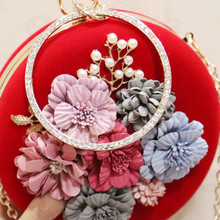 ETAILL European and American Style Women Floral Evening Bags New Spring Prom Clutches Wedding Purses Chain Velvet Handbags
