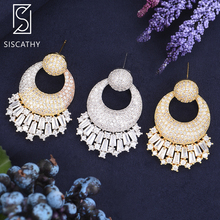 SISCATHY Fashion Irregular Geometric Dubai Nigerian Women Wedding Earrings Cubic Zirconia Drop Pendant Drop Dangle Earrings цена