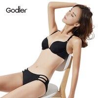 Godier Women intimates Sexy Lace bra set adjustable front button Push Up underwear Seamless temptation back Straps bra