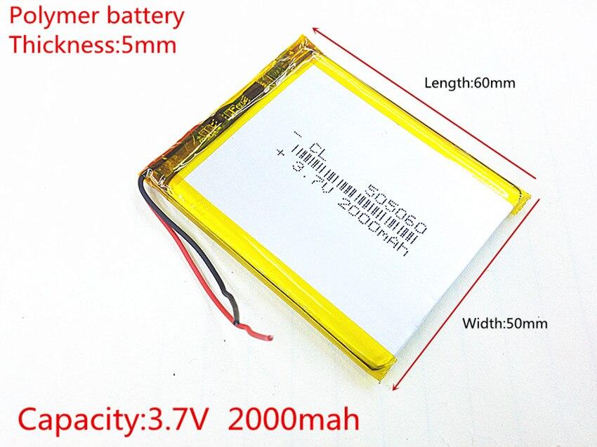 3.7V,2000mAH,505060 PLIB; polymer lithium ion / Li-ion battery for GPS,mp3,mp4,mp5,dvd,bluetooth,model toy mobile bluetooth