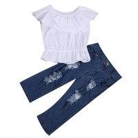 Fashion Kids Baby Girl Spring Autunm Summer White Crop Tops Shirt Tank Top T Shirt Denim