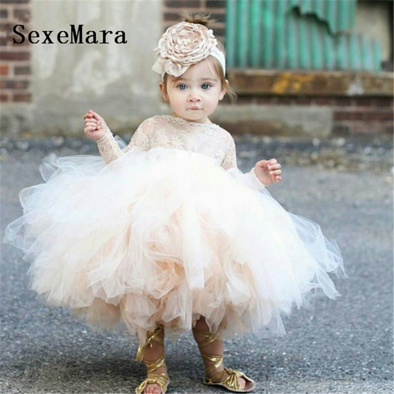 white/ivory/champagne 2019 tutu puffy tulle flower girl dress sheer lace ball gown long sleeves baby girl first birthday gown romance elegant tutu flower girl dress key hole half sleeves ball gown wedding party dress white ivory 2016