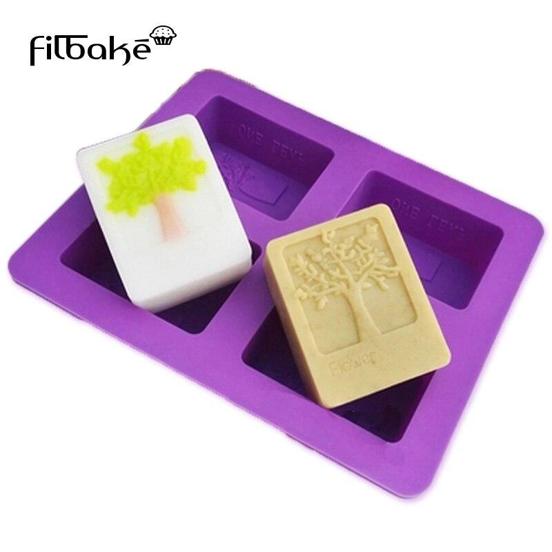 FILBAKE DIY domácí mýdlo forma silikonové mýdlo dort forma obdélníkový strom forma čtyři-otvor svíčka tvůrce příslušenství pro pečení