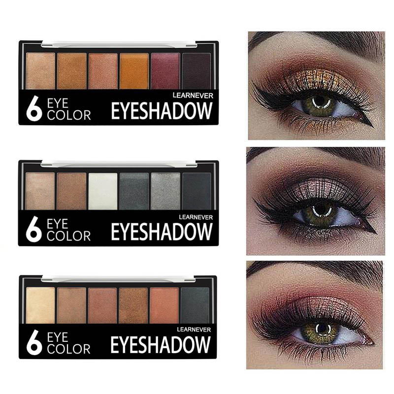 Professional 6 Colors Shimmer Glitter Nude Eye Shadow Make Up Palette Waterproof Matte Eyeshadow Makeup Pigments With Brush