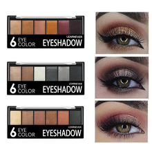 Professional 6 Colors Shimmer Glitter Nude Eye Shadow Make Up Palette Waterproof