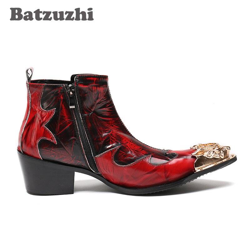 Italienischen Männer Red Schuhe Metall Bühne Batzuzhi Goldenen Spitzen Kurze Stiefel Rock Cm 6 Höhe Stil Toe Nachtclub Weinrot tTfBqa