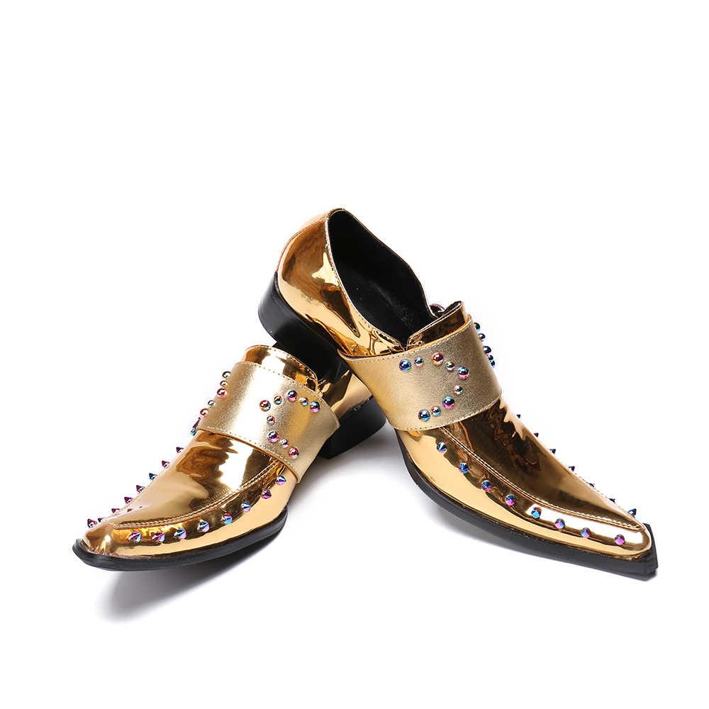 Новинка; Мужские модельные туфли в британском стиле; цвет золотой, серебряный; мужские оксфорды из натуральной кожи с заклепками; официальная обувь