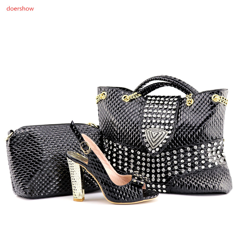doershow New Design Italian Shoes With Matching Bag Set Fashion Italy Shoes And Bag To Match African Women Shoes For party QV1-1 doershow italian shoe with matching bag fashion lattice pattern italy shoe and bag to match african women shoes party hjj1 34