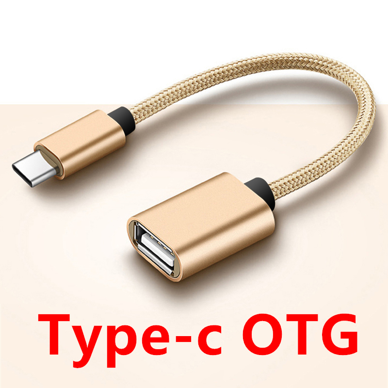 USBC Type To OTG Adapter Connector Converter Adaptor Audio Cable Splitter For Usbc Type Otg Cord Alloy Casing Nylon Wire Type-c