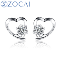 ZOCAI BRAND 100 NATURAL GENUINE HEART SHAPE DIAMOND EARRING 0 06 CT DIAMOND 18K WHITE GOLD