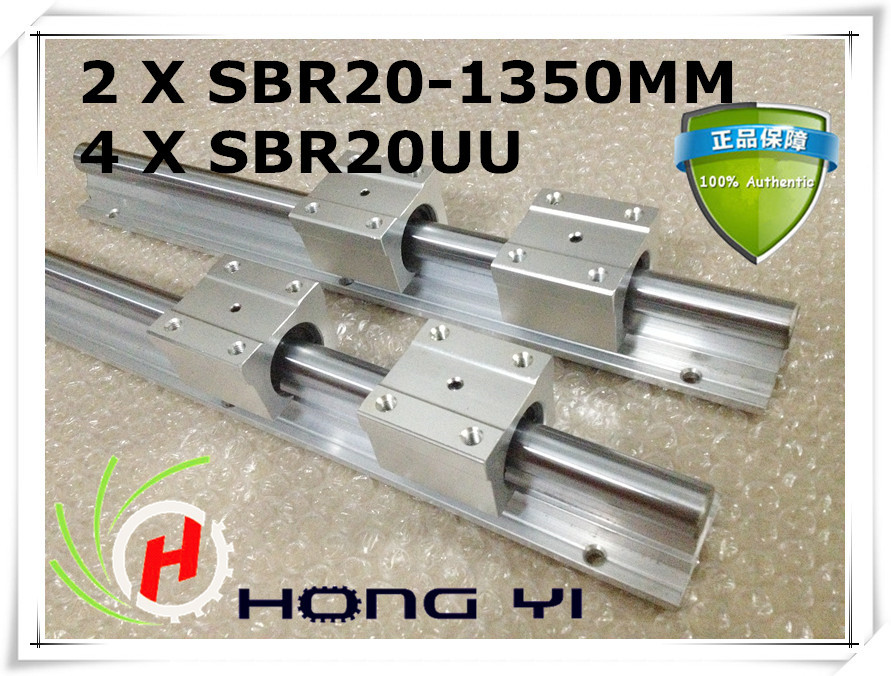Best price for 2pcs SBR20 -L 1350mm Linear Bearing Rails + 4pcs SBR20UU Bearing Blocks best price for 2pcs sbr20 l 1100mm linear rails slide support 4pcs sbr20uu bearing blocks