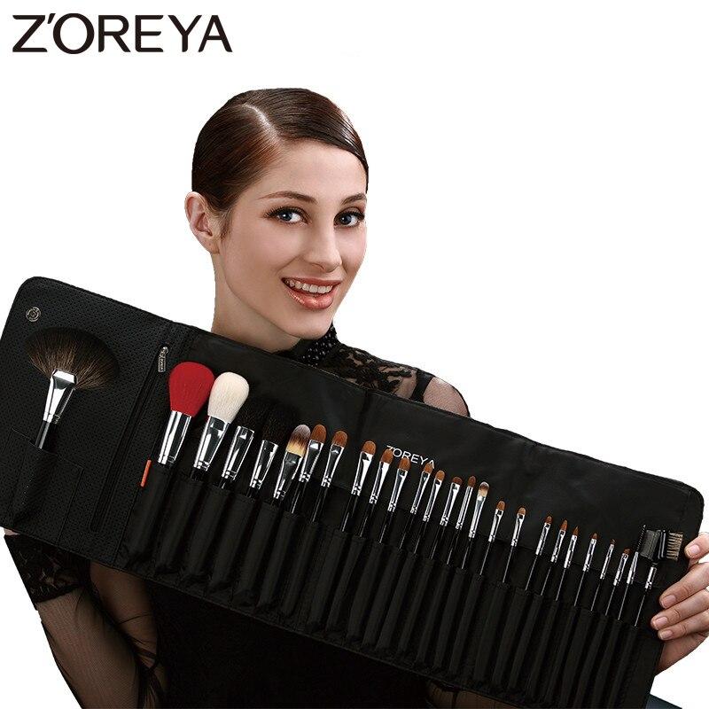 ZOREYA 26 шт., набор профессиональных кистей для макияжа, роскошные натуральные козьи волосы, веер, косметический набор кистей для макияжа, красивые кисти для теней - 2