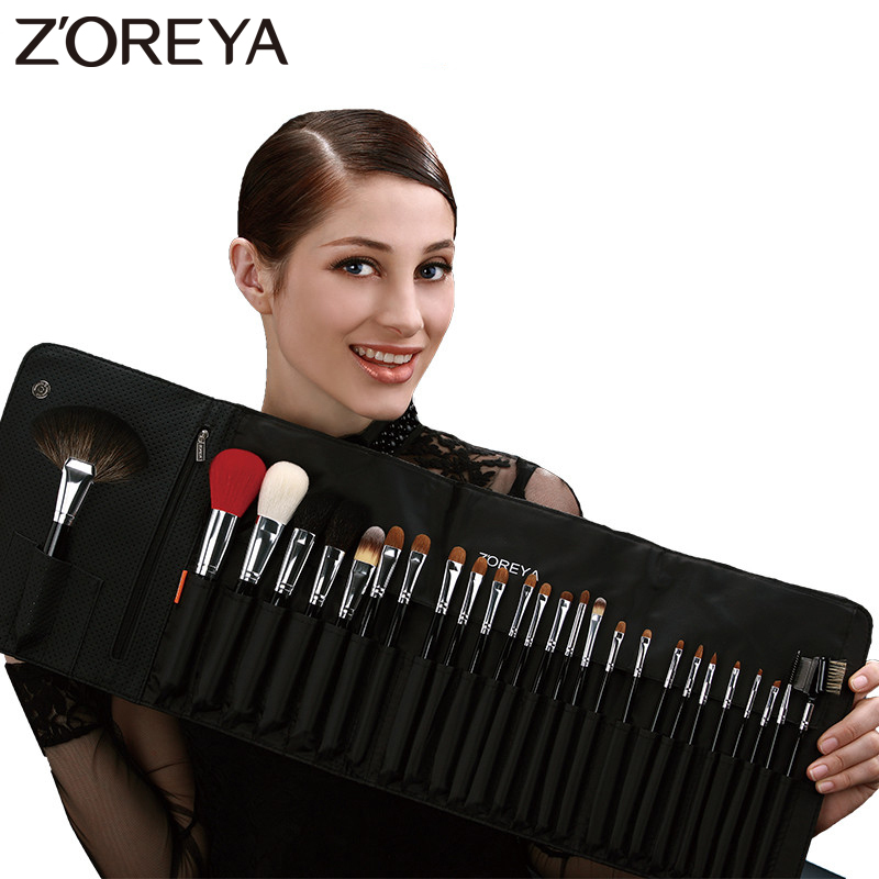 ZOREYA Brand 26Pcs Luxury Natural Goat Hair Fan Makeup brushes Professional Cosmetic Makeup Brush set Beauty Eye Shadow Brush professional luxury makeup brushes set champagne makeup brushes cosmetic brush beauty maker pinceis maquiagem makeup tool bag