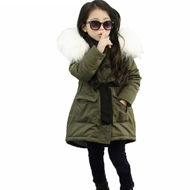 2017 baby girls clothes winter girls jackets and coats fur collar hooded kids outwear bow tie pincess long girls winter jackets 2017 kids jacket winter for girl and coats duck down girls fluffy fur hooded jackets waterproof outwear parkas coat windproof