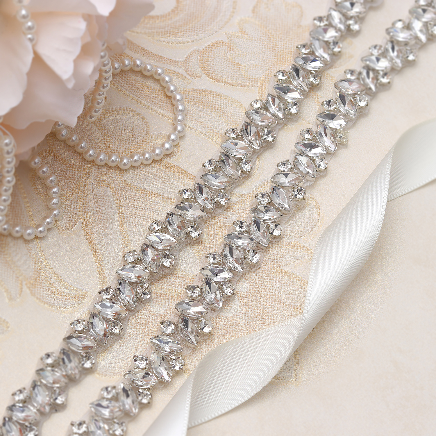 Diamond Wedding Belt MissRDress Gold Crystal Wedding Sash Rhinestones Bridal Sash Belt For Wedding Evening Dress JK863