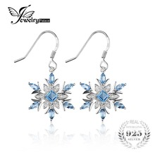 Jewelrypalace 1.54ct del copo de nieve azul natural topaz cuelga los pendientes genuino 925 pendiente de plata esterlina para las mujeres de joyería de moda