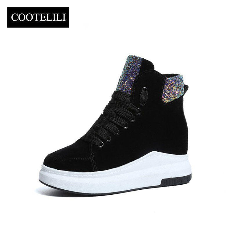 цена на COOTELILI Women Ankle Boots Heels Lace up Warm Casual Shoes Woman Sneakers Platforms Faux Suede Plush Botas Mujer black 35-39