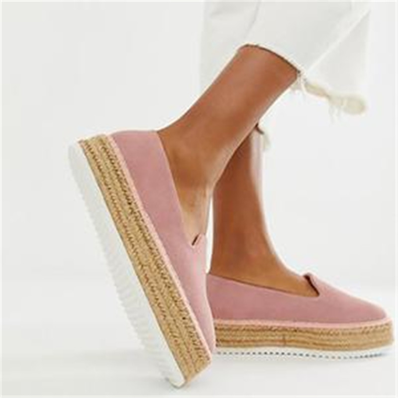LOOZYKIT 2019 New Faux Suede Espadrilles Shoes Casual Loafers Women Flats Ballet Flats Zapatos Fenimino(China)