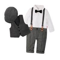 Fashion Kids Newborn Boy Clothing Sets Top Quality Cotton Gentleman Spring Fashion Rompers + Vest + Hat Autumn Baby Clothes