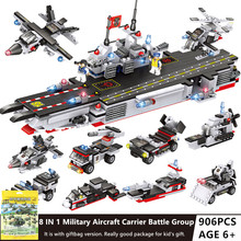 906Pcs Military Aircraft Carrier ARMY NAVY Warship Building Blocks Sets  Creator Bricks Toys for Children