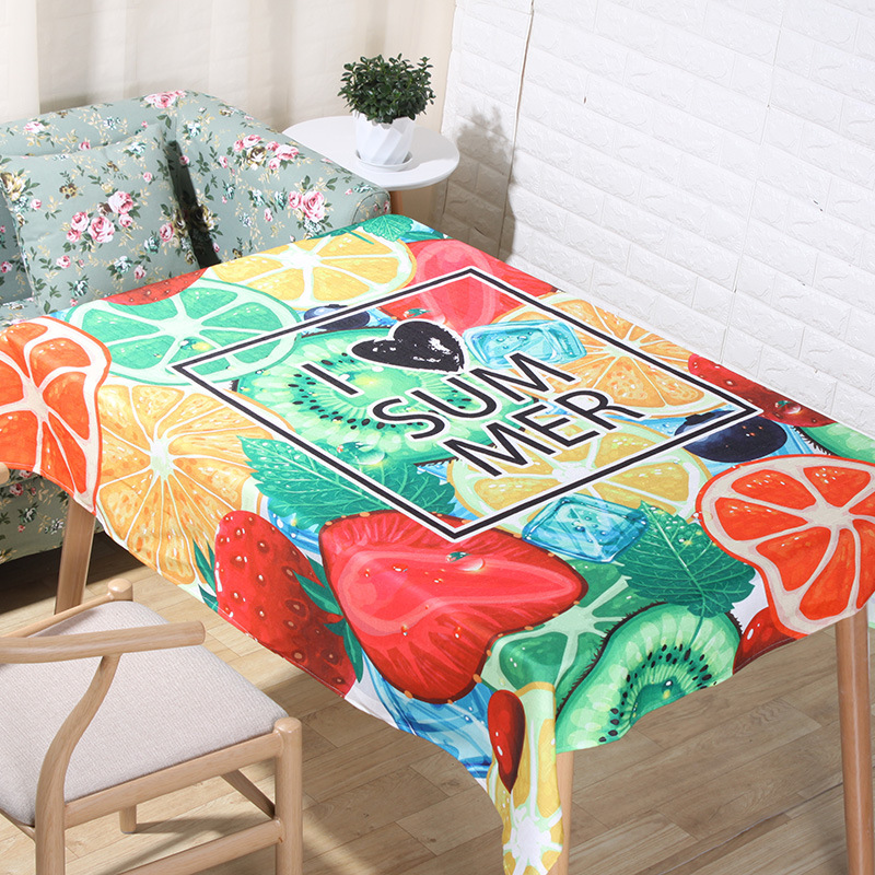 Summer Fruite Tablecloth Small Wind Fresh Rectangular Table Tea Desk Decorative Cover Outdoor Pinic Camping Mat Colorful Colth