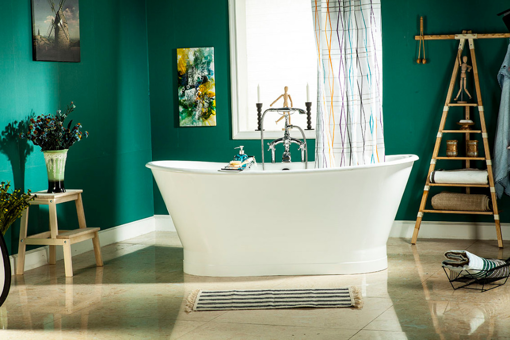 66 CUPC Approval Freestanding Luxury Indoor Bathtub Cast Iron Double Ended Tub Multi-Color Custom Built 1008-1