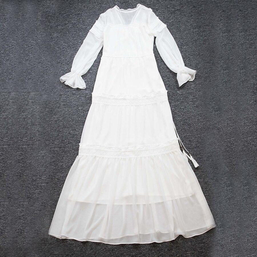 Robe Élégant Maxi Femmes Arc Aeleseen 2019 Printemps Dames Vintage Noir Fleur Parti Longue Broderie Été Plein Lc43Aq5Rj