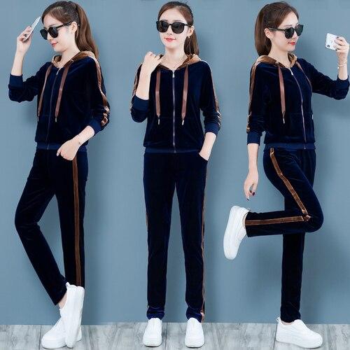 Survêtement en velours doré pour femmes vêtements de sport survêtements décontracté 2 pièces ensemble pantalons et haut deux pièces tenues ensemble coréen
